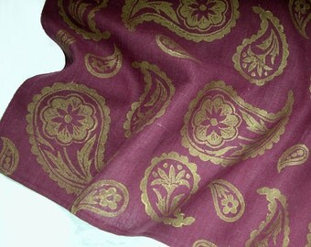 Port Wine and Gold Metalllic Paisley hand block printed home decor table runner