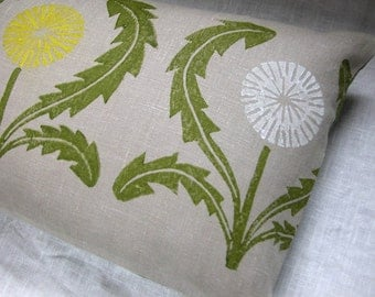 gray and olive green hand block printed dandelion linen pillow