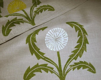 hand block printed warm gray and olive green dandelion linen home decor napkins farmhouse wedding set of 4