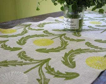 Hand block printed dandelion gray linen table runner farmhouse wedding rustic floral botanical spring garden home decor