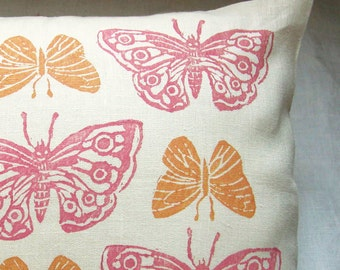 Rustic Pink and Apricot Butterflies hand block printed cream linen colorful decorative home decor pillow case