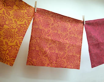 Saffron Spice Passionflower hand block printed floral home decor linen dinner napkins set of four