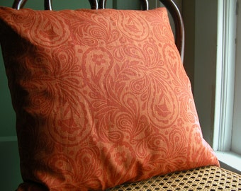 Tangerine paisley hand block printed colorful linen orange boho home decor decorative pillow case