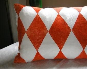 Carnival Harlequin Tangerine on White Linen decorative geometric modern colorful home decor pillow case