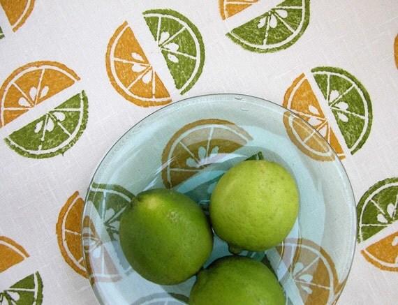 Lemon Lime Slice linen tea towel