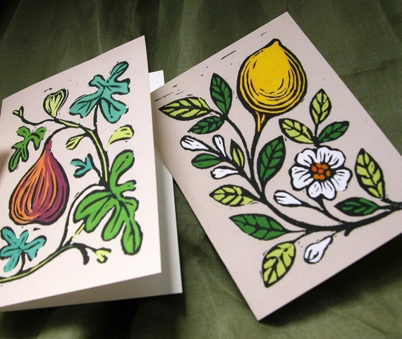 Fruit Linocut Reproduction Cards Set of 8 with envelopes