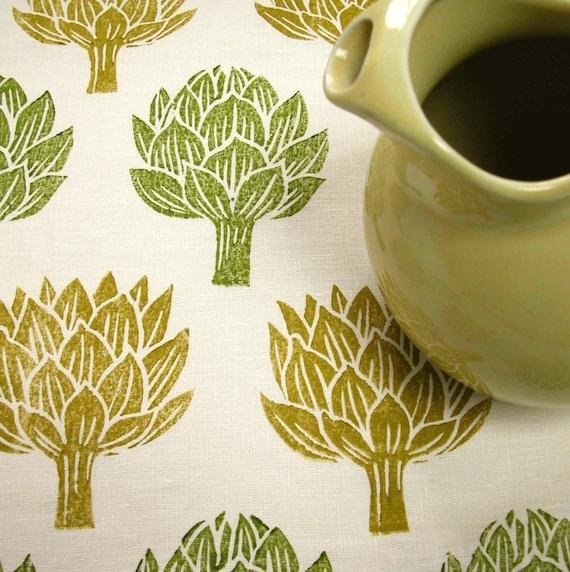 Artichoke linen tea towel
