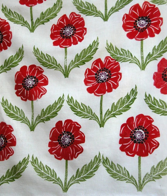 Poppies hand printed linen fabric
