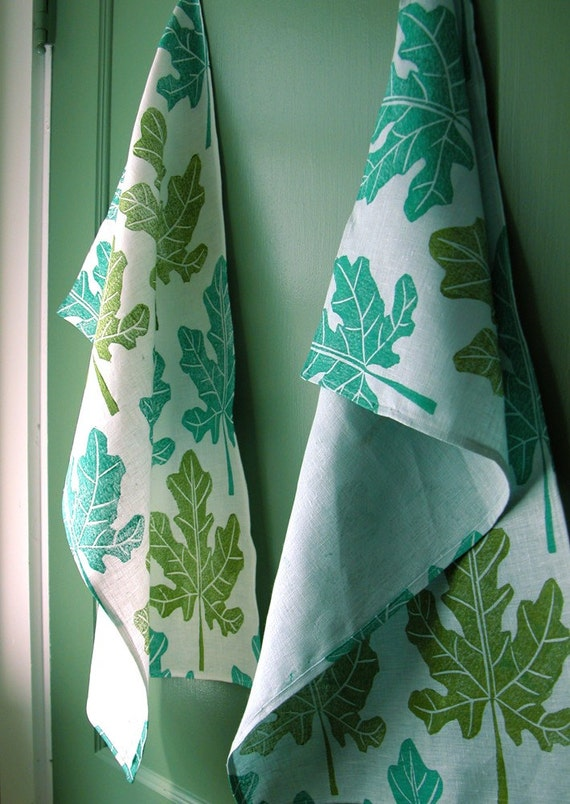 Fig Leaf botanical hand block printed linen tea towels set of 2 your choice of color white or aquamarine kitchen home decor hostess gift
