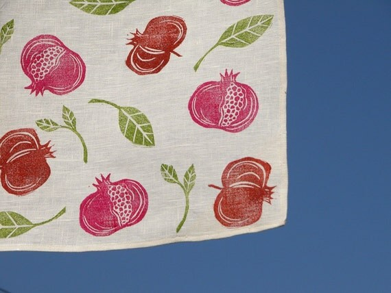 Pomegranate hand block printed home decor linen table runner