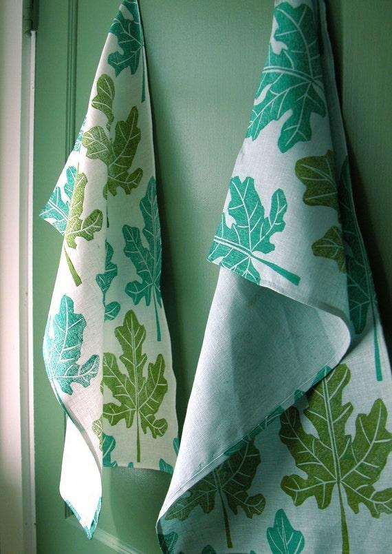Fig Leaf Linen Tea Towel