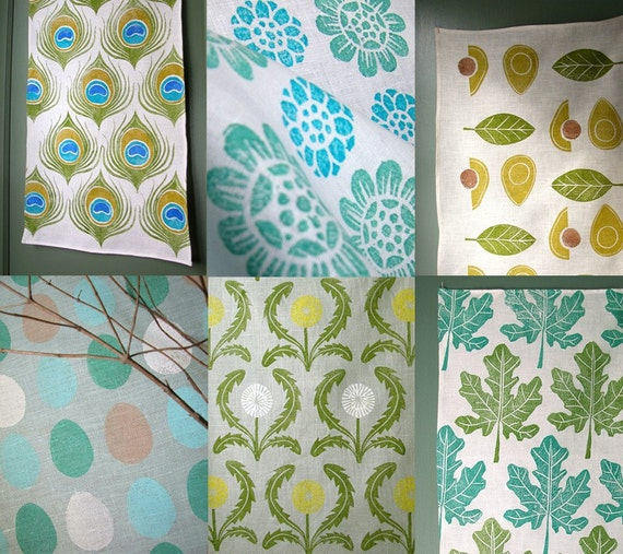 Blue and Green Linen Tea Towel Collection of 6