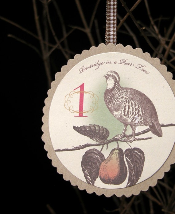 12 Days of Christmas holiday vintage victorian style home decor paper ornaments