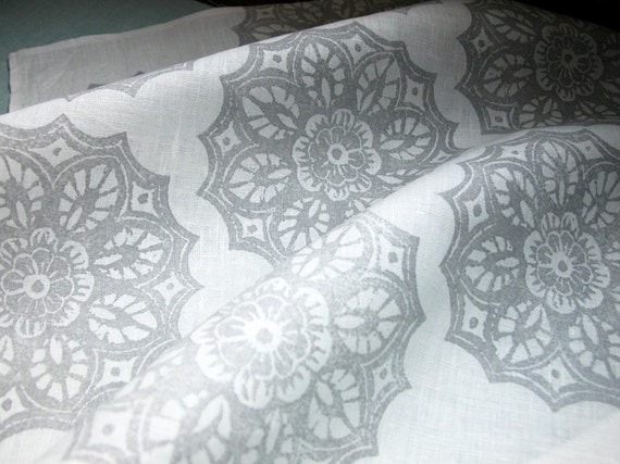 Pearl gray on white lace medallion hand block printed home decor dinner napkins set of 6