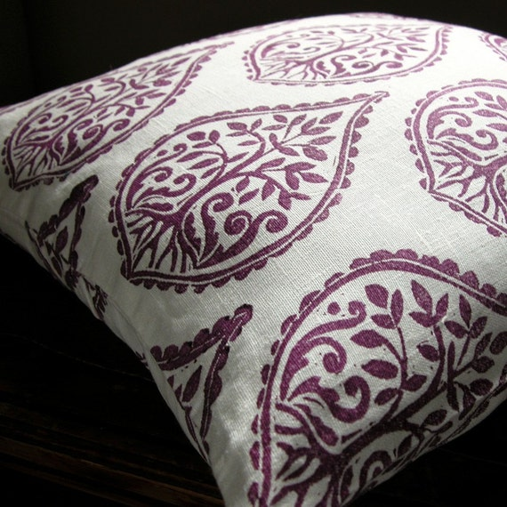 Deep Purple and White hand printed tree and fern design linen home decor pillow case