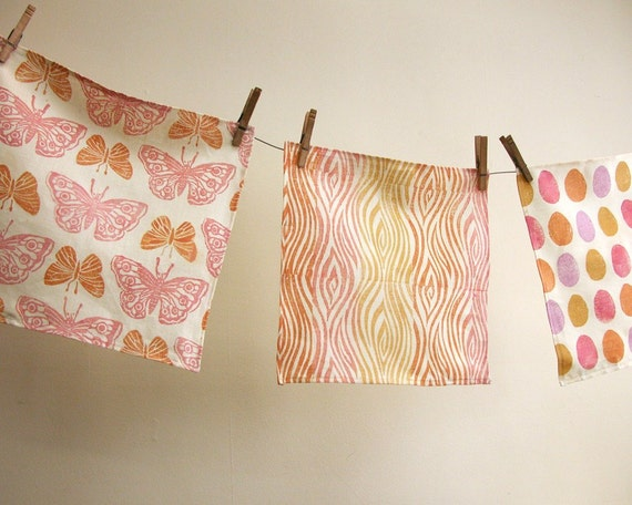 pretty pink and apricot hand printed linen hanky collection