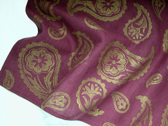 Port wine burgundy and gold metallic paisley linen table runner holiday home decor hand block printed hostess gift