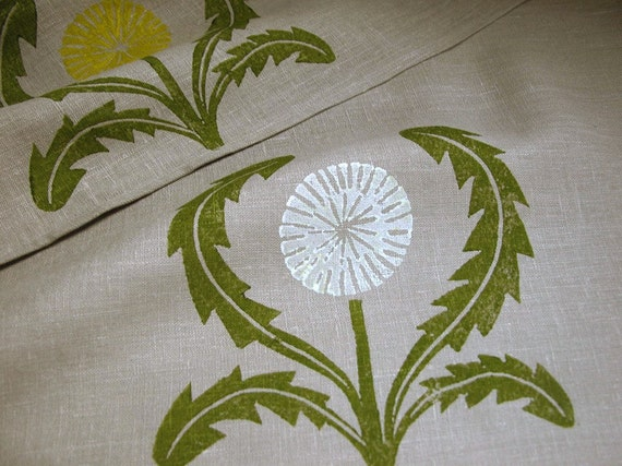 hand block printed warm gray and olive green dandelion linen home decor napkins set of 4