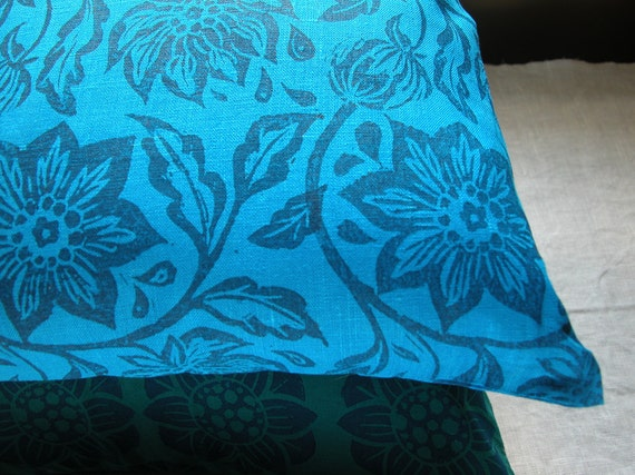 navy passionflower on brilliant blue linen hand block printed tropical floral home decor colorful decorative pillow case