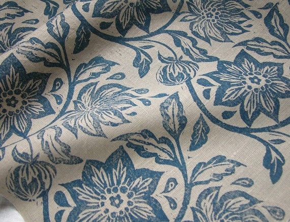 everyday navy on warm gray linen napkins passionflower botanical tropical floral hand block printed home decor set of 4