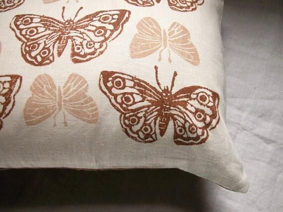 rustic brown butterflies hand printed linen pillow case