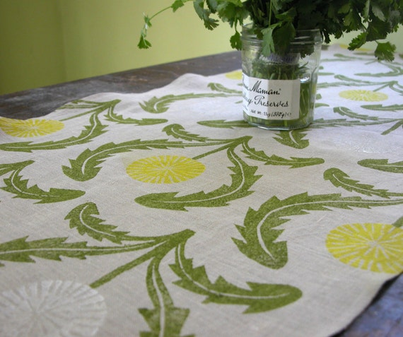 Hand block printed dandelion gray linen table runner farmhouse wedding rustic floral botanical spring garden home decor