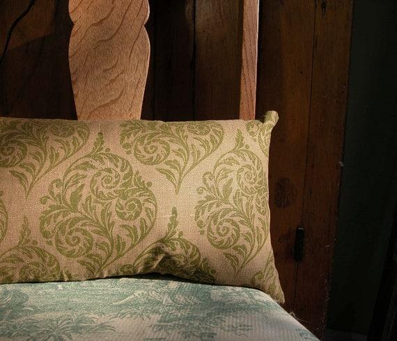 Fiddlehead hand block printed linen pillow