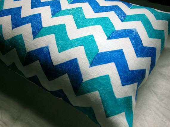 Blue and Turquoise Chevron hand block printed decorative home decor colorful linen pillow case