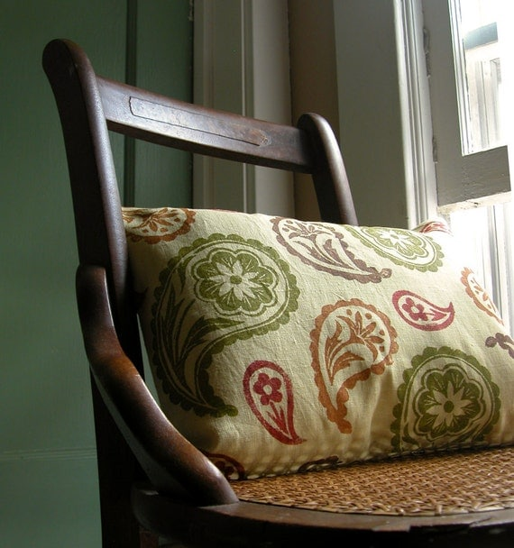 Autumn Paisley Lumbar Hand Printed Linen Decorative Pillow Case