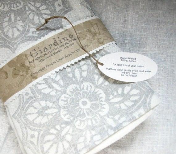 Winter White gray wedding set of four linen hand block printed home decor dinner napkins