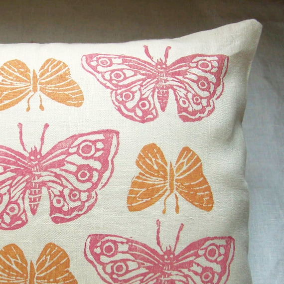 Rustic Pink and Apricot Butterflies hand block printed linen pillow case