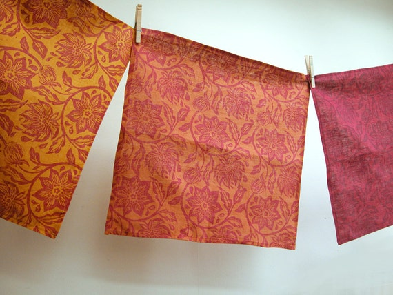 Saffron Spice set of four hand printed linen dinner napkins