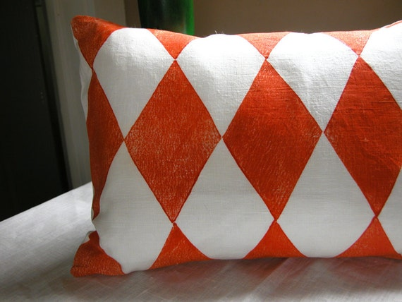 Carnival Harlequin Tangerine on White Linen decorative geometric modern colorful home decor pillow case