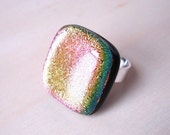 MAGENTA Dichroic Glass and pure Sterling Silver Ring