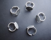 Adjustable ring blank with 0,59 inch glue pad (1,5 Cmts) - Pure Sterling Silver