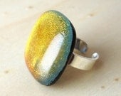 LAST ONE Dichroic SOFT Glass and Sterling Silver Ring - SOFT Anillo Vidrio Dicroico y Plata