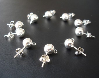 Earstud, sterling silver, 7mm ball with split loop and Ear Nuts