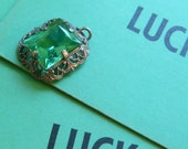 victorian filigree LUCKy green pendant