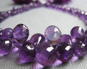 Stunning African Amethyst faceted briolettes, LONG 1\/2 strand, 6-13.4mm