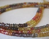 SUPER DEAL  AAA Multi Colored Sapphire faceted rondelles, LONG 1\/2 strand, 2.3mm OUT of this WORLD