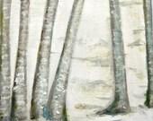 Original Painting Birch Trees on Canvas