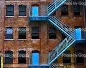 5x7 Blue Fire Escape photo