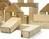 Toy Building Blocks - Made From Solid Recycled Wood - 72 Piece Set - Eco-Friendly - All Natural - Handmade in the USA