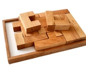 Pentomino Puzzle - Solid Cherry Wood Puzzle - Logic Puzzle - Handmade Wood Game - 12 Piece Puzzle