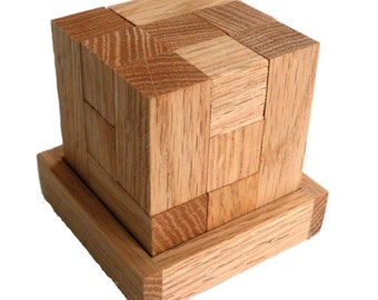 Wood Cube Puzzle - Solid Reclaimed Oak Wood - 7 wood pieces - Unlimited entertainment - Logic Puzzle - fun challenge for the whole family