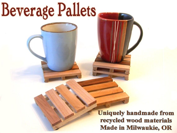 Drink Coasters made from reclaimed wood - COASTERS - Beverage Pallets - set of 6 - handmade solid wood - Buy a set of 6, get 2 FREE