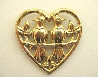 Sterling Retro Large Lovebirds Pin