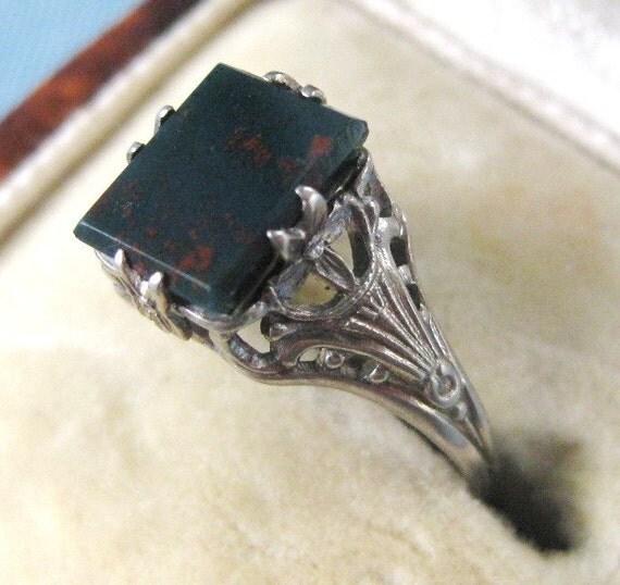 10kt art nouveau art deco white gold bloodstone ring