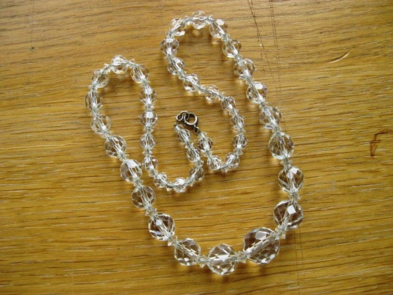 1920 Art Deco Crystal Beads on Sterling Silver Chain
