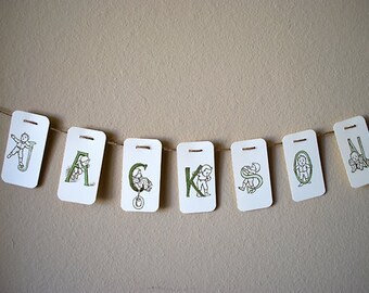 Banner - Customized Vintage Alphabet Letters - Green